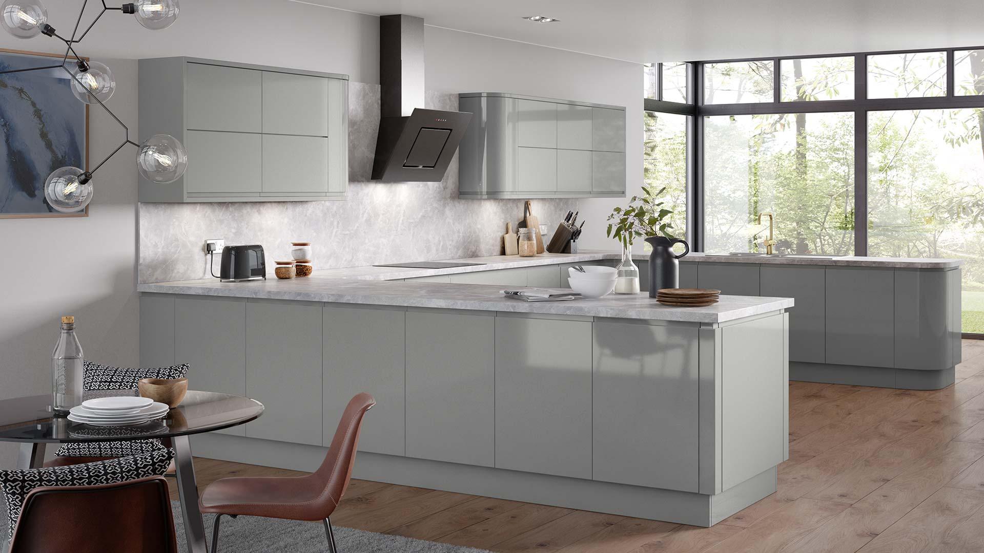 Larissa Dust Grey Gloss Kitchen - Finsahome
